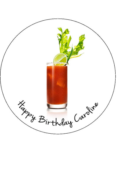 Bloody Mary Cocktail Edible Icing Cake Topper