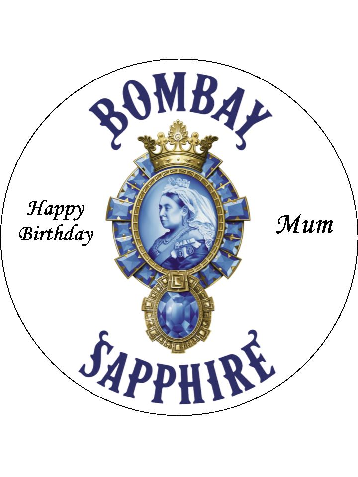 Bombay Sapphire Gin Logo Edible Icing Cake Topper The