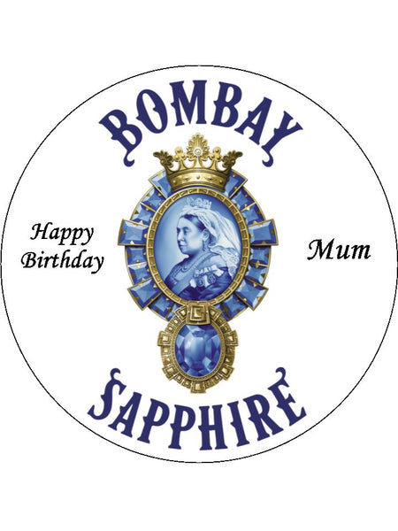 Bombay Sapphire Gin Logo Edible Icing Cake Topper