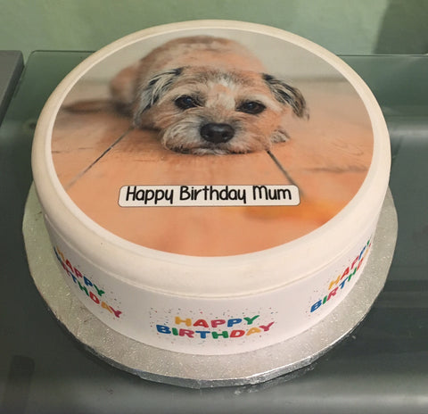 Border Terrier Dog Edible Icing Cake Topper
