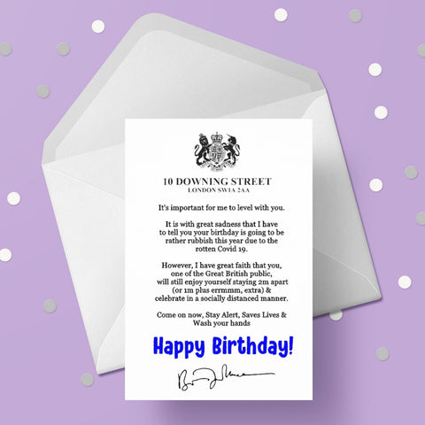 Birthday Card from Boris Johnson Number 10