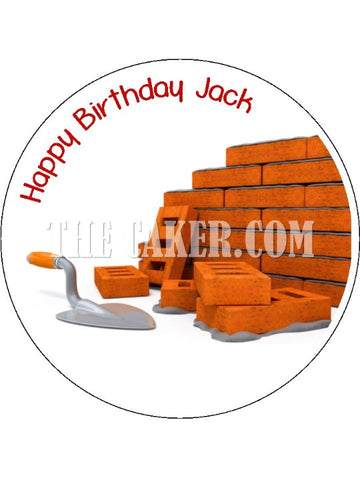 Bricklayer Edible Icing Cake Topper
