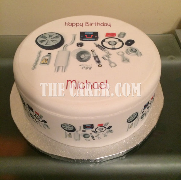 Car Mechanic Engine Parts Edible Icing Cake Topper