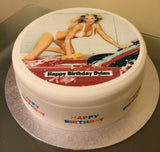 Sexy Girl at Car Wash Edible Icing Cake Topper