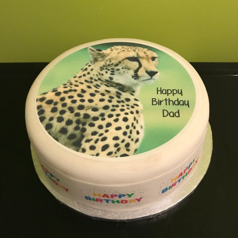 Cheetah Edible Icing Cake Topper