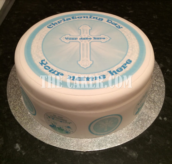 Christening Edible Icing Cake Topper 03