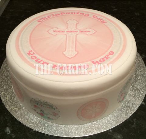 Christening Girl Edible Icing Cake Topper 02