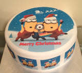 Christmas Minions Edible Icing Cake Topper 01