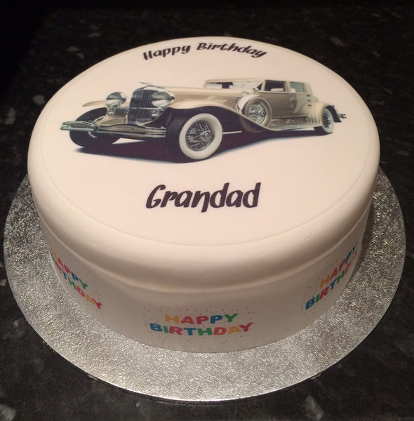 Classic Vintage Car Edible Icing Cake Topper 01