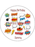 Comic Book Words Edible Icing Cake Topper