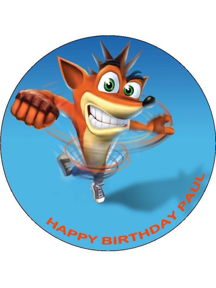 Crash Bandicoot Edible Icing Cake Topper 01 The Caker Online