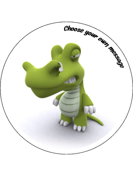 Crocodile Cartoon Edible Icing Cake Topper