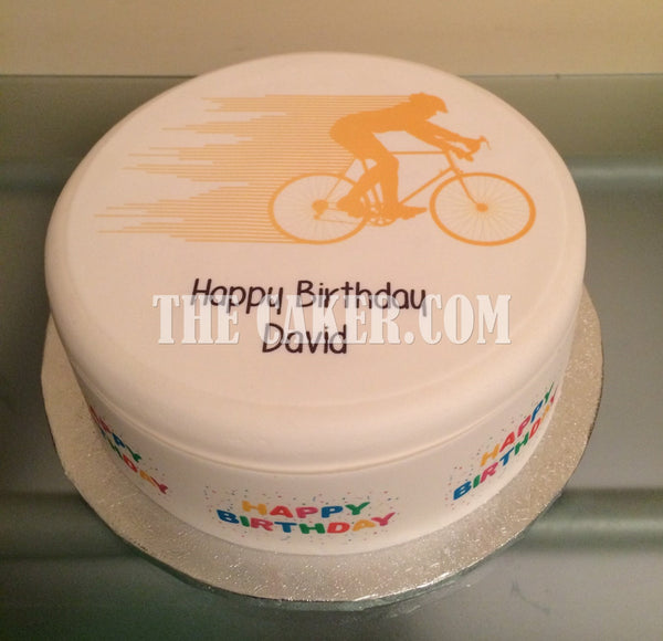 Bicycle Cyclist Edible Icing Cake Topper 01