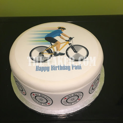 Bicycle Cyclist Edible Icing Cake Topper 02