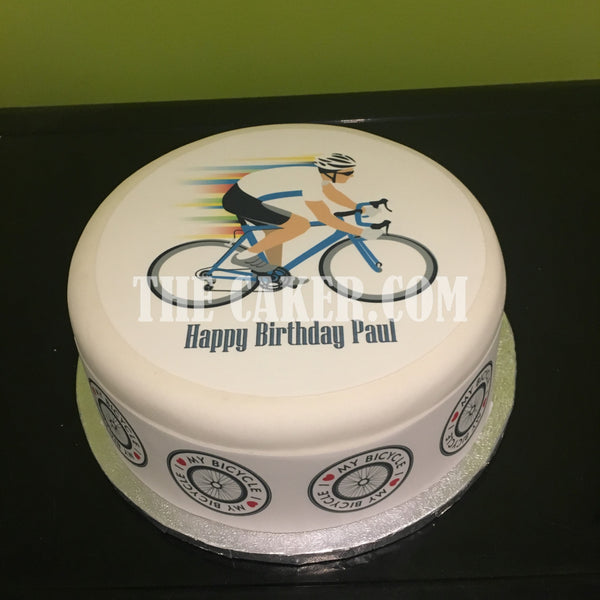Bicycle Cyclist Edible Icing Cake Topper 03
