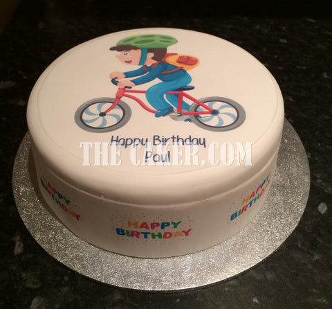 Bicycle Cyclist Edible Icing Cake Topper 04
