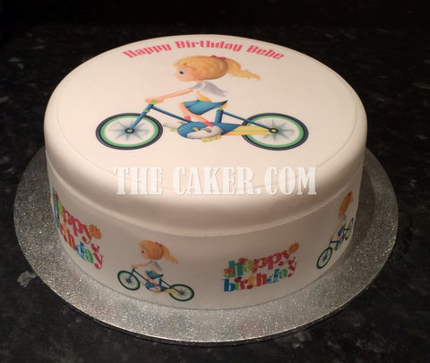 Bicycle Cyclist Edible Icing Cake Topper 05