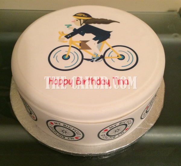 Bicycle Cyclist Edible Icing Cake Topper 07