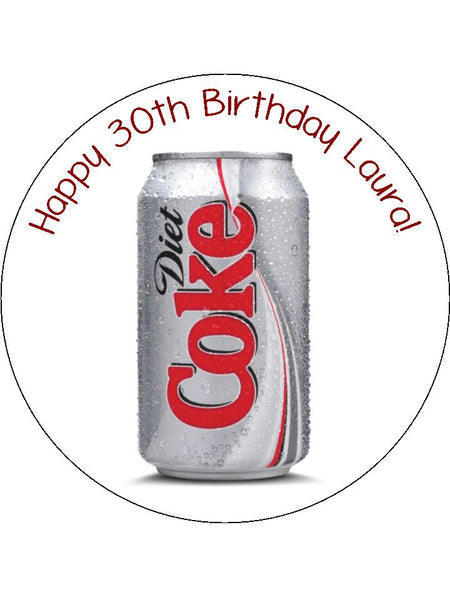 Diet Coke Can Edible Icing Cake Topper