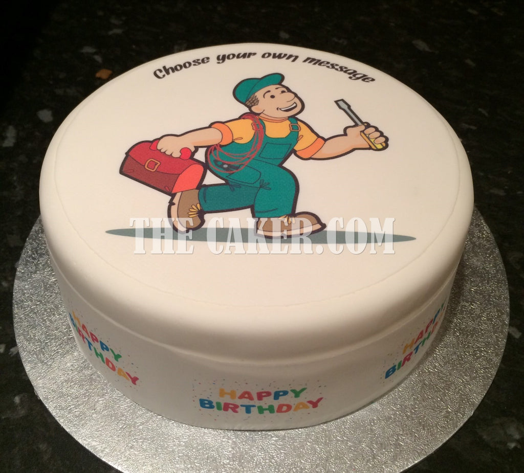 Electrician Handyman Edible Icing Cake Topper the caker online