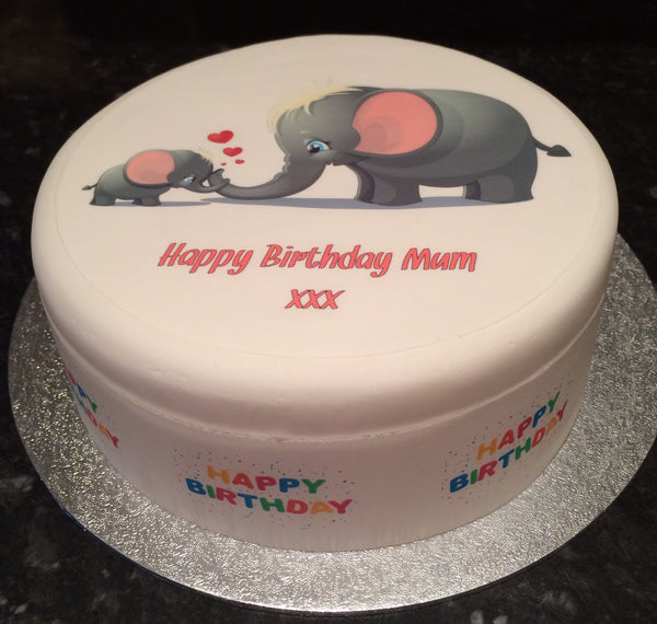 Birthday Mummy Elephant Edible Icing Cake Topper