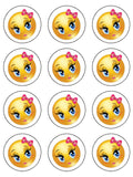Emoji 12 Edible Icing Cake Topper Cute Girl