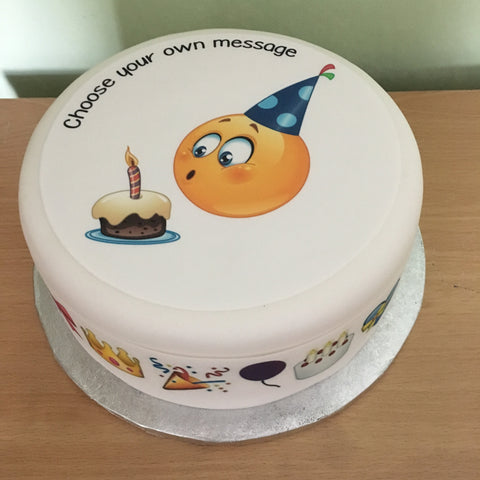 Emoji Emoticon Birthday Cake Edible Icing Cake Topper 16