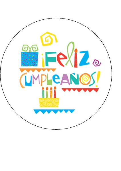 Spanish Happy Birthday Edible Icing Cake Topper