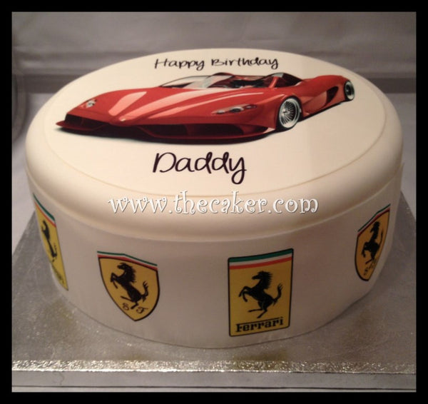 Ferrari Racing Car Edible Icing Cake Topper 01