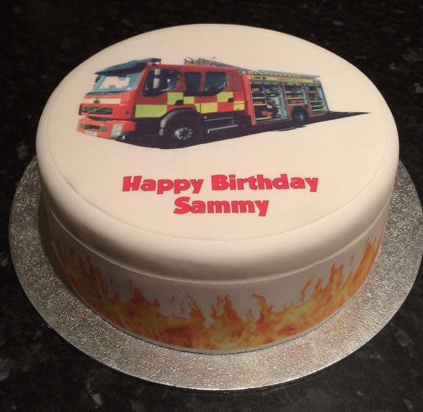 Fire Engine Truck Edible Icing Cake Topper 01