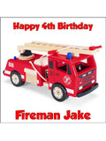 Fire Engine Truck Edible Icing Cake Topper 02