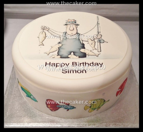 Fisherman Fishing Edible Icing Cake Topper 01
