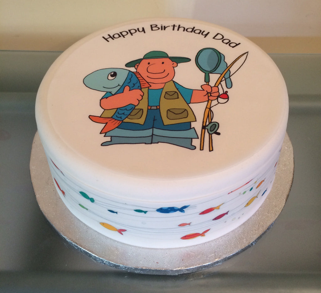 Fisherman Fishing Edible Icing Cake Topper 02 The Caker Online