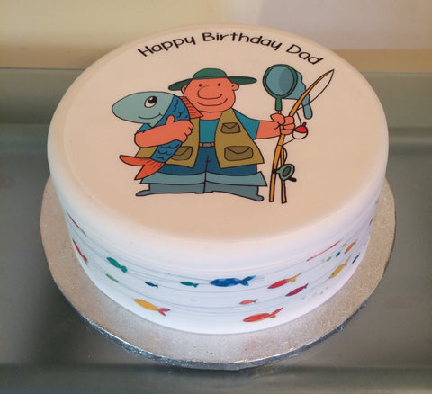 Fisherman Fishing Edible Icing Cake Topper 02