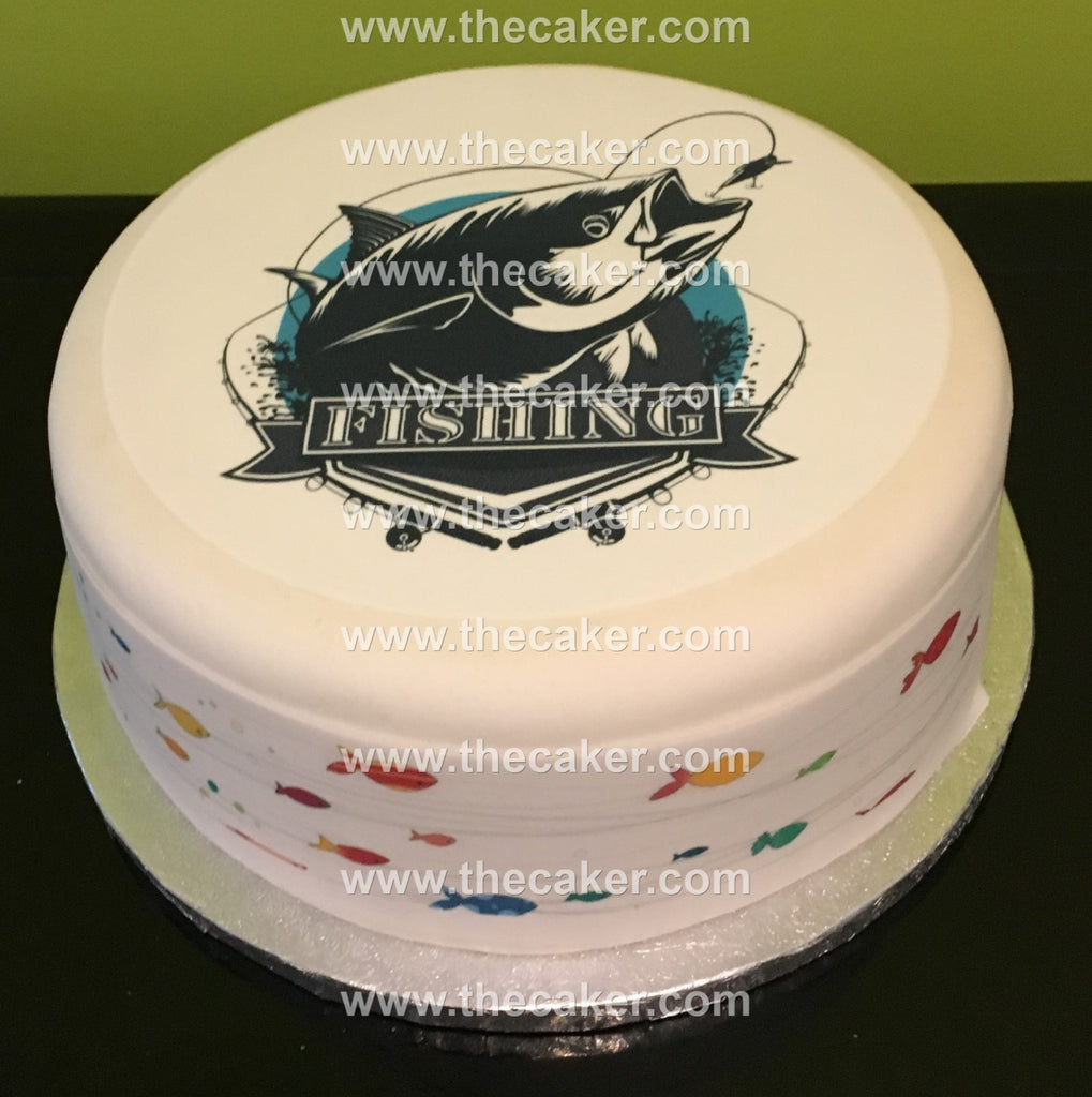 Superb Fishing Edible Icing Cake Topper 04 The Caker Online Funny Birthday Cards Online Eattedamsfinfo