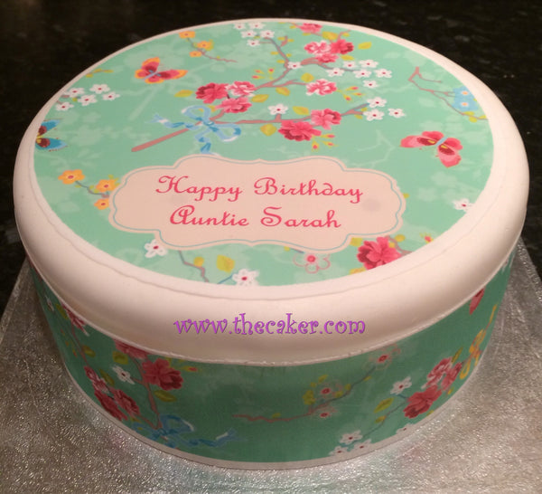 Flower Pattern Edible Icing Cake Topper 03