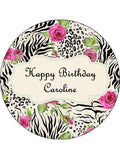 Flower Pattern Edible Icing Cake Topper 04
