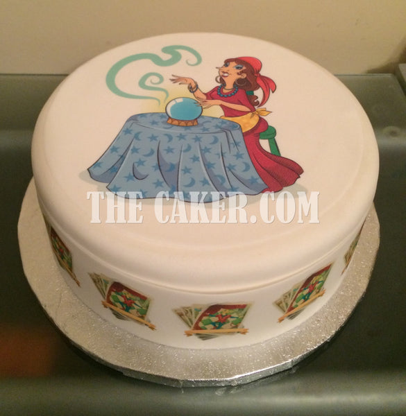 Fortune Teller Crystal Ball Edible Icing Cake Topper