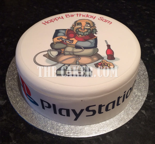Old Video Games Player Edible Icing Cake Topper 02