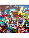 Graffiti Wall Art Edible Icing Cake Topper 01