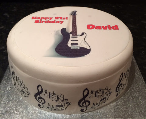 Black Guitar Edible Icing Cake Topper 02