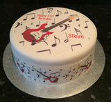 Electric Guitar Red Edible Icing Cake Topper 01