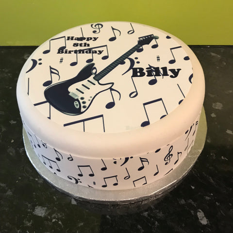 Black Guitar Edible Icing Cake Topper 01