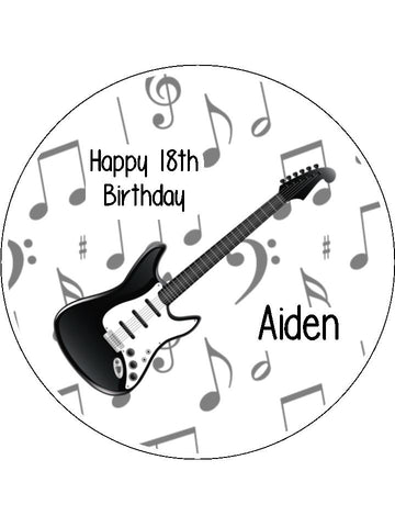 Electric Guitar Black Edible Icing Cake Topper 01