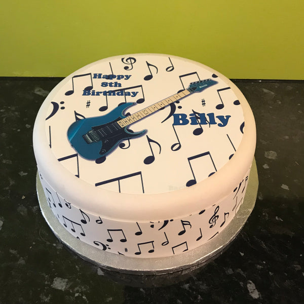 Blue Guitar Edible Icing Cake Topper 01