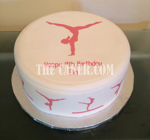 Gymnastics Pink Edible Icing Cake Topper 01