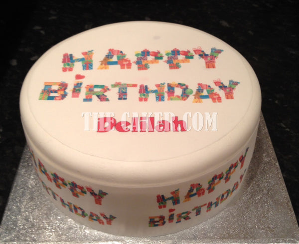 Happy Birthday Edible Icing Cake Topper 02