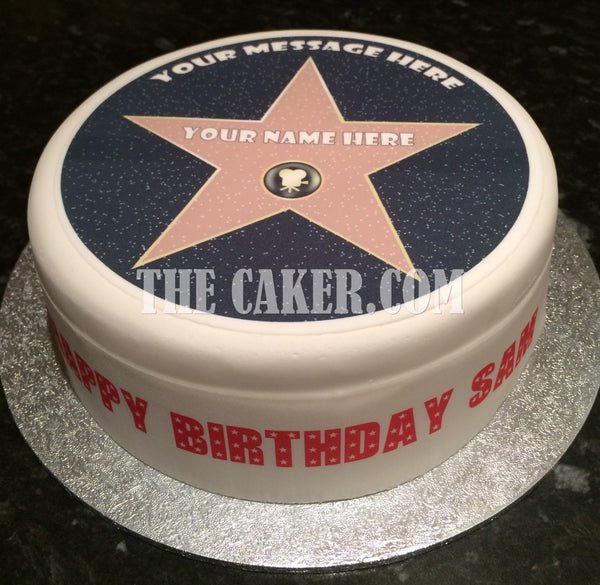 Hollywood Star of Fame Edible Icing Cake Topper