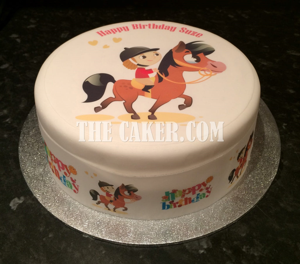 Horses Personalised Edible Icing Cake Topper Square Round Party Supplies Cake Toppers