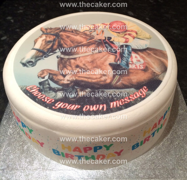 Horse Racing Edible Icing Cake Topper